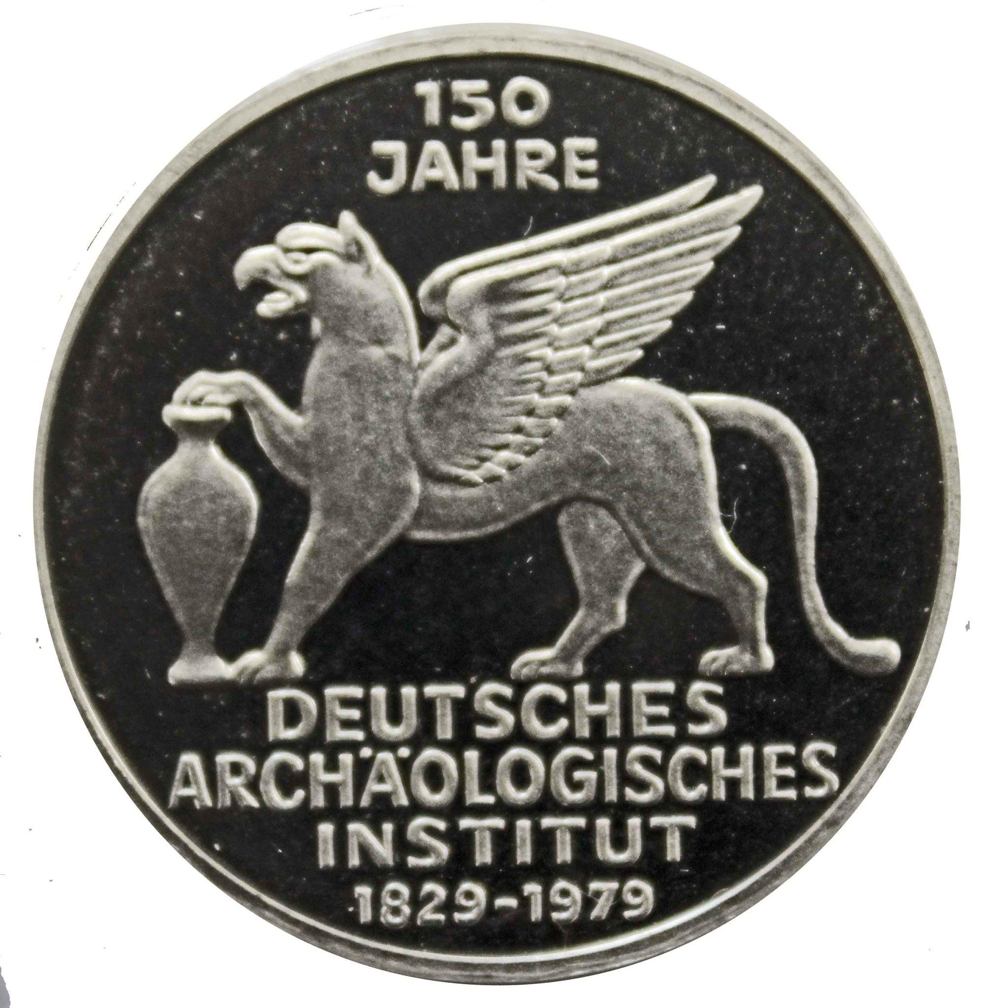 5 марок. 150 лет Немецкому археологическому институту. Германия. (J). Серебро. 1979 год. PROOF