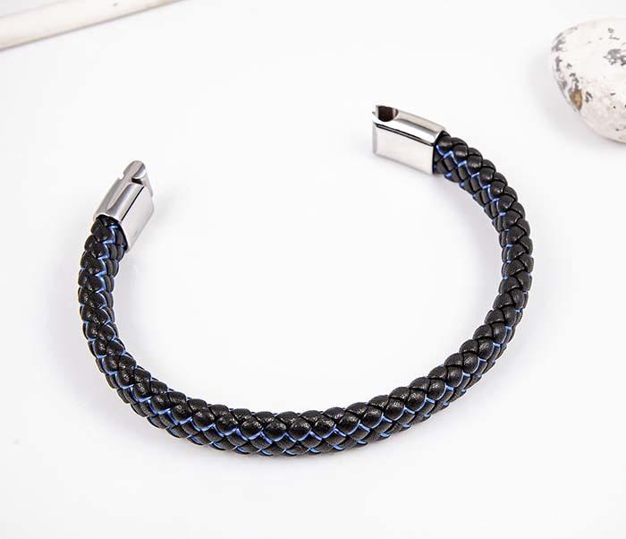 BM591-1B Широкий плетеный браслет с синей нитью фото 02