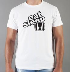 Футболка с принтом Honda, Eat Sleep (Хонда) белая 010