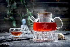 Стеклянный чайник с подогревом от свечи и чашками – Набор Бамбук