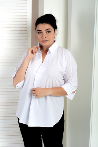 Айріс. Жіноча блуза великих розмірів. Білий