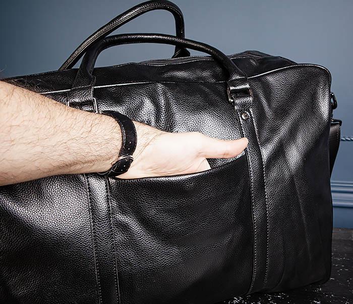 BAG521-1 Кожаная дорожная сумка с ручками и ремнем фото 08