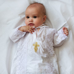 Папитто. Крестильный набор для мальчика (рубашка крестильная, пеленка) вид 2