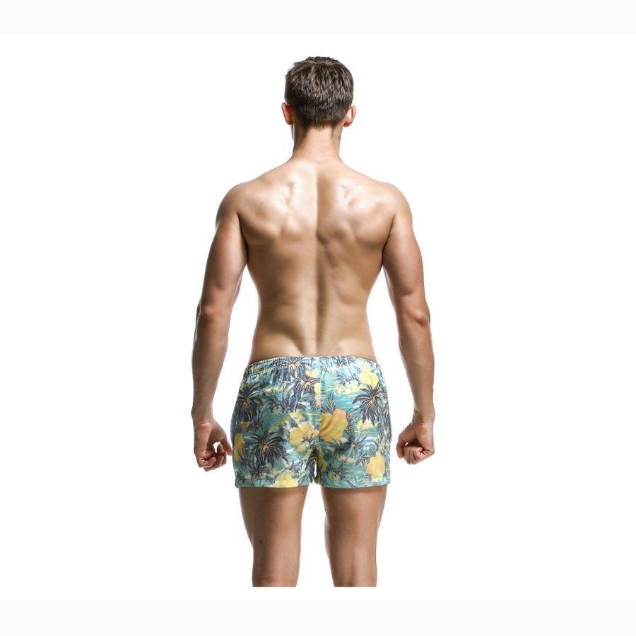 Мужские пляжные шорты зеленые с принтом SEOBEAN