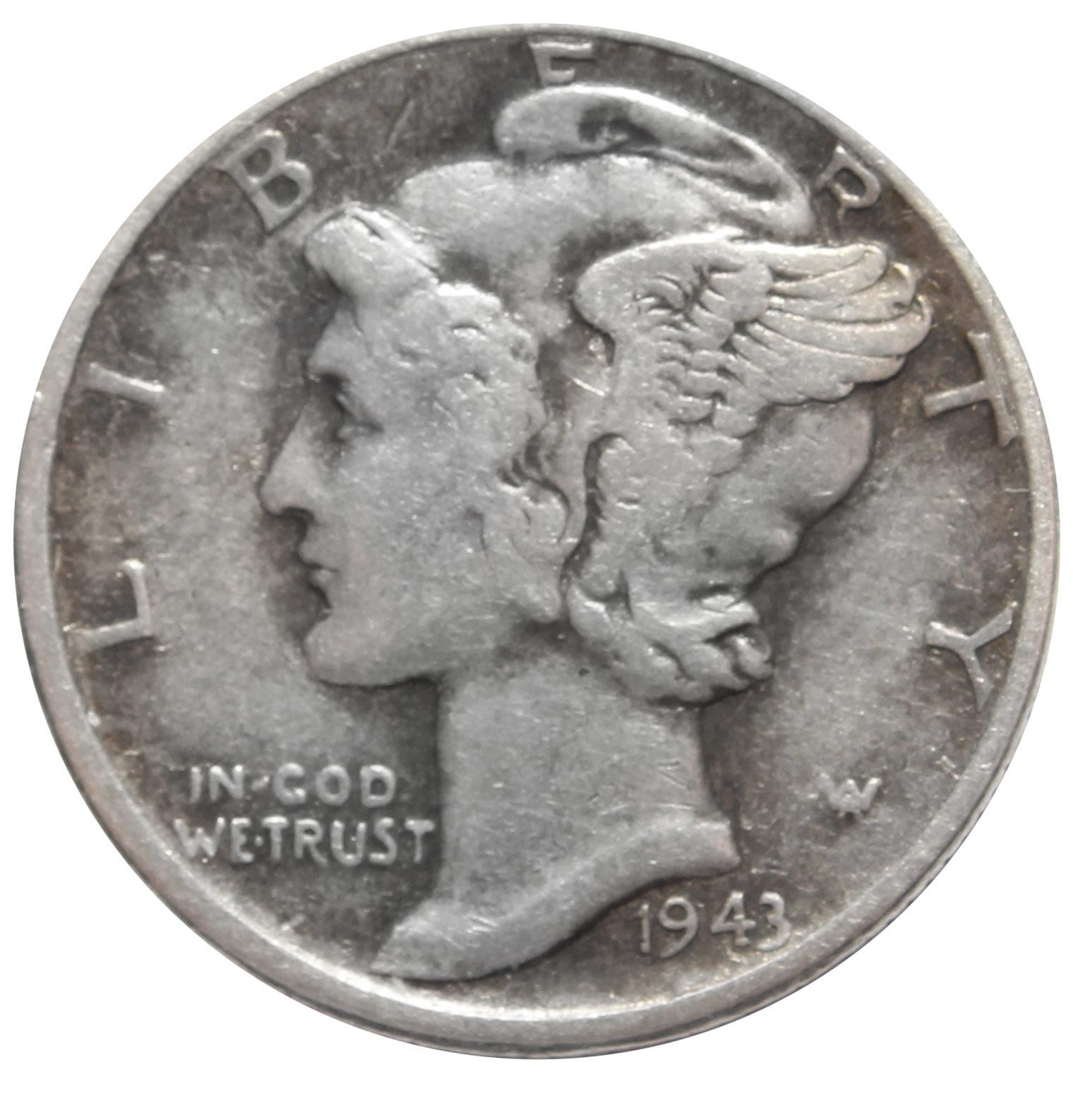 1 дайм (10 центов) 1943. США VF (Меркурий) Серебро