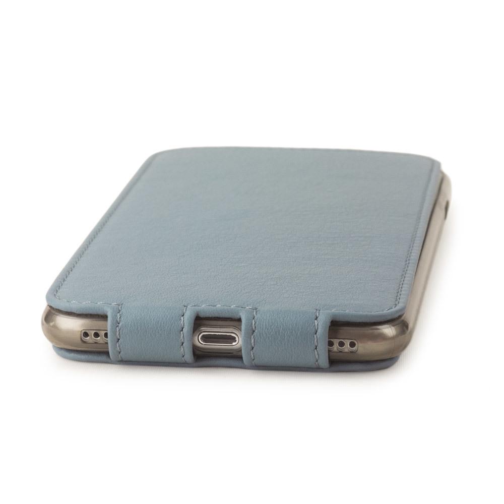 Чехол для iPhone 8 Plus из натуральной кожи теленка, серо-голубого цвета