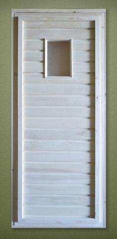 Дверь осиновая 1,7х0,7 м со стеклом, коробка 100мм