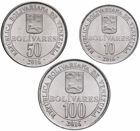 Набор из 3 монет Венесуэла. 2016 год. AU-UNC