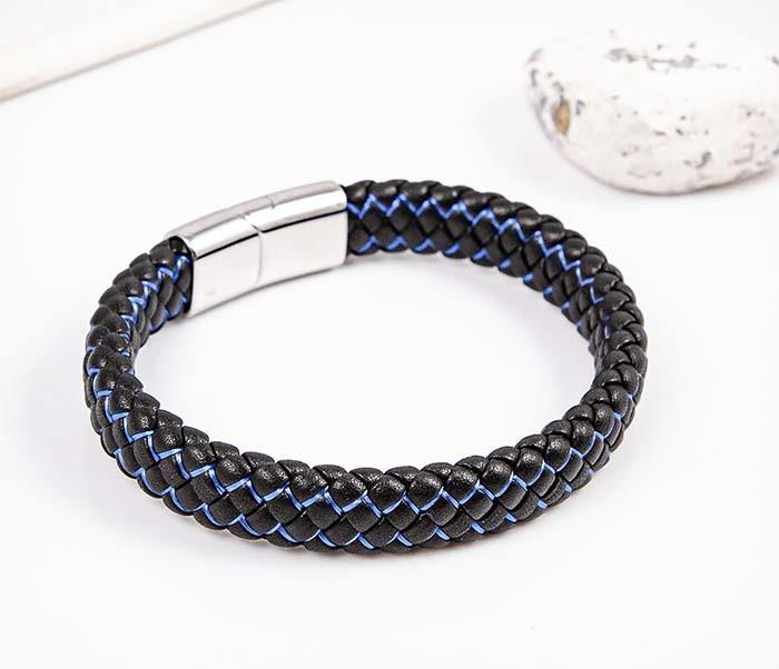 BM591-1B Широкий плетеный браслет с синей нитью фото 04