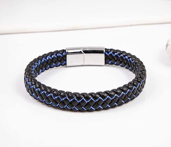 BM591-1B Широкий плетеный браслет с синей нитью фото 05