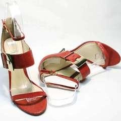 Стильные босоножки с закрытой пяткой и открытым носком Via Uno1103-6605 Red.