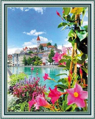 Алмазная Мозаика 40x50 Набережная Швейцарии (арт. SGA2368)
