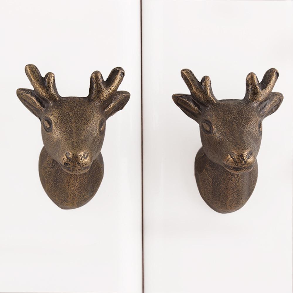 Ручка мебельная металлическая - олень2 мини , арт. 000828
