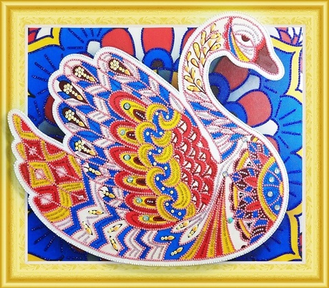 Алмазная Мозаика 5D 40x50 Разноцветный лебедь