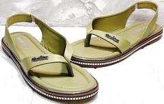 Модные женские сандалии босоножки через палец кожа Evromoda 454-411 Olive.