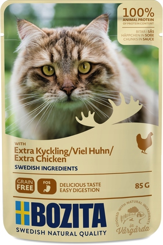 Bozita Pouch Extra chicken in sauce Консервы для взрослых кошек с курицей, кусочки в соусе (Пауч)