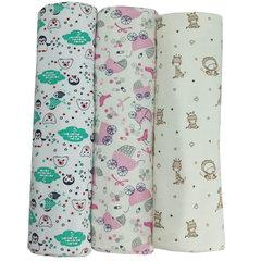 Папитто. Комплект трикотажных пеленок из футера для девочки 130х90 см, 3 шт. вид 3