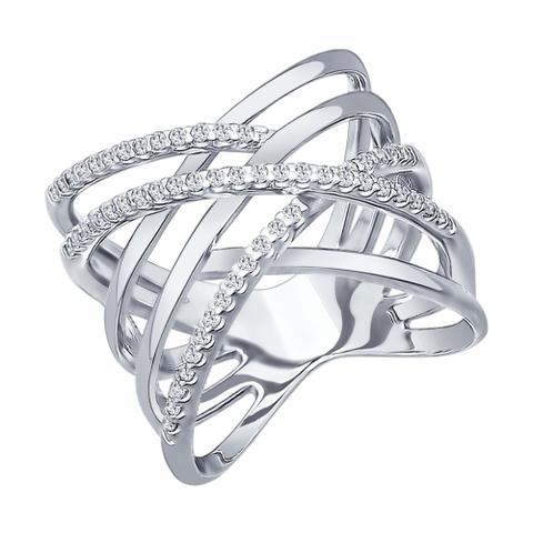 94012042 - Кольцо из серебра с фианитами