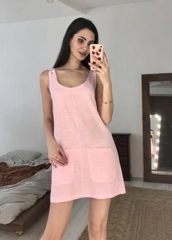 Ірен. Легке лляне жіноче плаття. Рожевий