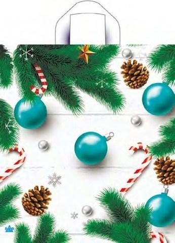 Пакет новогодний с петлевой ручкой 42х38 (37) (Бирюзовые шары) 50 шт