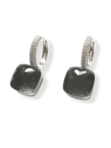 33316 - Серьги Caramel из серебра с серым кварцем и фианитами