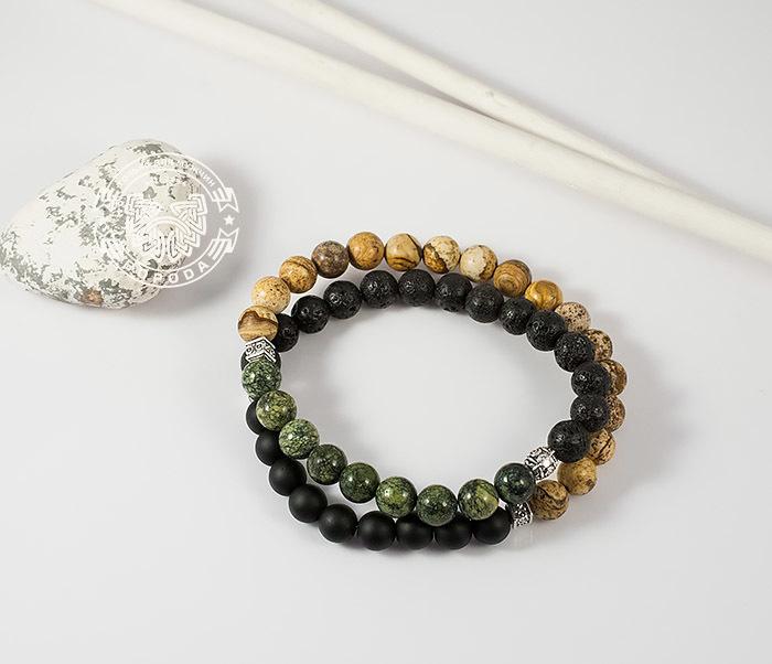BS689 Двойной мужской браслет из шунгита, яшмы, лавы и змеевика. «Boroda Design»
