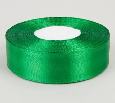 Лента атласная (размер 25 мм х 30 м) Цвет: зеленая