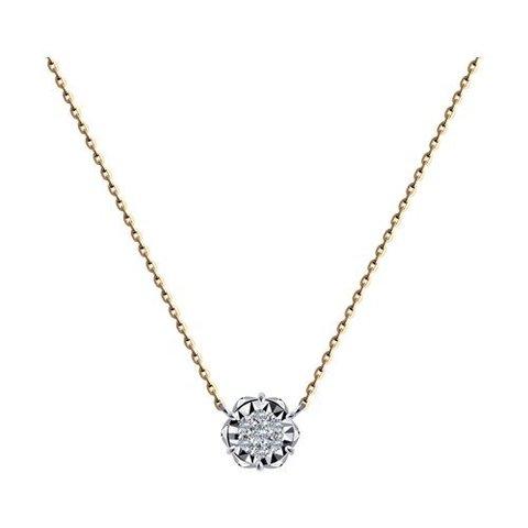 1070169 - Колье из комбинированного золота с родированием с бриллиантами
