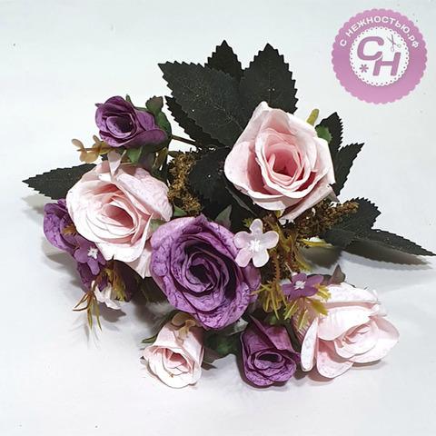 Розы искусственные с травкой и бутонами, букет 5 веток, 34 см.