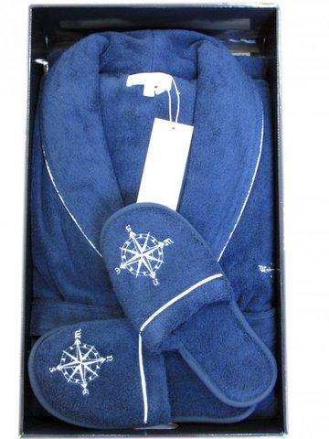 MARINE CLUB МАРИНЕ КЛАБ махровый мужской  халат с тапочками  Maison Dor Турция