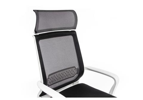Офисное кресло для персонала и руководителя Компьютерное Lion черно-белое 65*65*121 Хромированный металл /Черный / белый