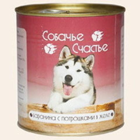 Собачье счастье Баранина с потрошками в желе, 410г (упаковка 20 банок)