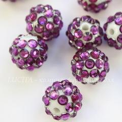 Бусина для шамбалы со стразами, цвет - бело-фиолетовый, 12 мм