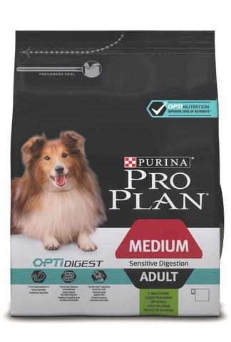 Сухой корм Purina Pro Plan для взрослых собак средних пород с чувствительным пищеварением, ягнёнок с рисом
