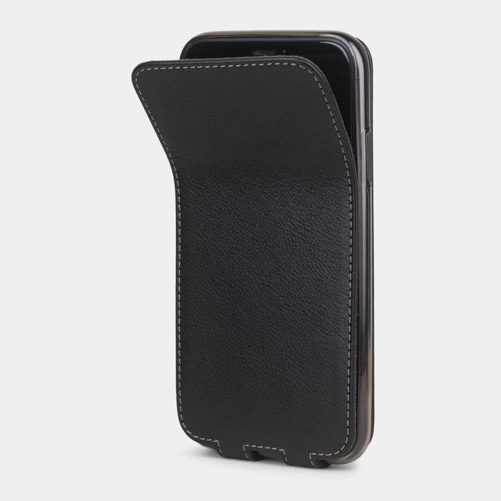 Чехол для iPhone 11 из натуральной кожи теленка, черного цвета