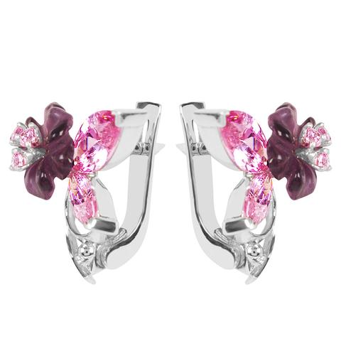 Серьги из серебра с цветами из фианита и кварца Арт.2205фрр