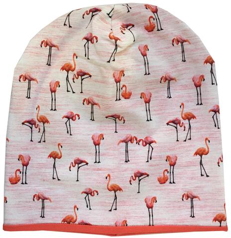 Шапочка бини с розовыми фламинго