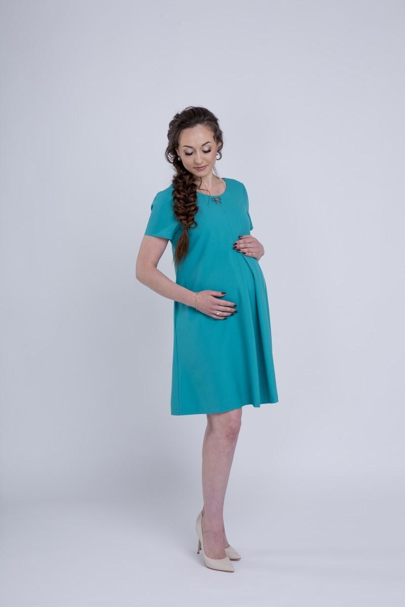 Фото платье для беременных Mama i Ja от магазина СкороМама, зеленый, бирюзовый, размеры.