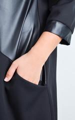 Диор. Комбинированное платье для больших размеров. Черный.