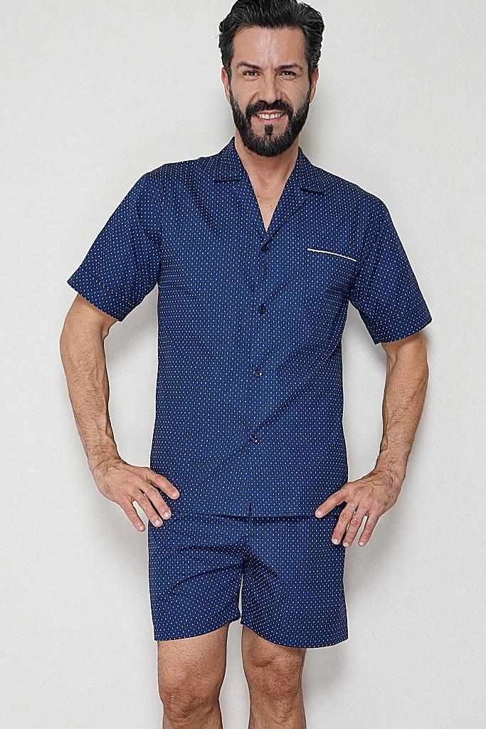 Синяя мужская пижама с шортами B&B