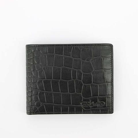 Портмоне S.Quire, натуральная воловья кожа, черный, фактурная, 11,2x9 см