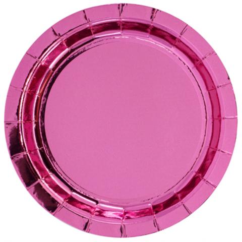 Тарелки блестящие розовые, 17см