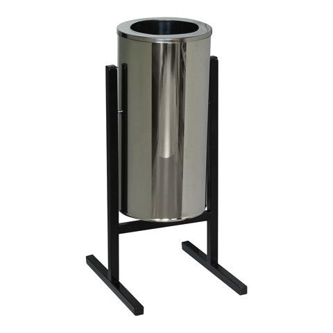 Урна металлическая уличная, 720х330х405 мм, 25 л, бак нержавеющая сталь, каркас черный, СЛ2-250Н
