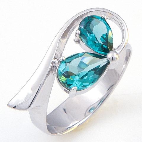 Кольцо из серебра с турмалином параиба Арт.1058п