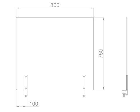 Настольный экран на струбц. Ш.800мм В.600/750 мм