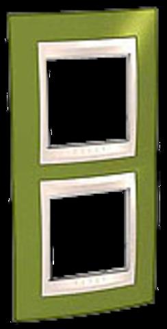 Рамка на 2 поста. Цвет вертикальная Фисташковый/Бежевый. Schneider electric Unica Хамелеон. MGU6.004V.566