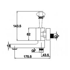 Смеситель KAISER Vista 65022 для ванны схема