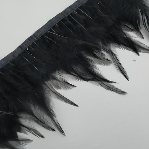 Тесьма  из перьев петуха h- 8-10см., черный
