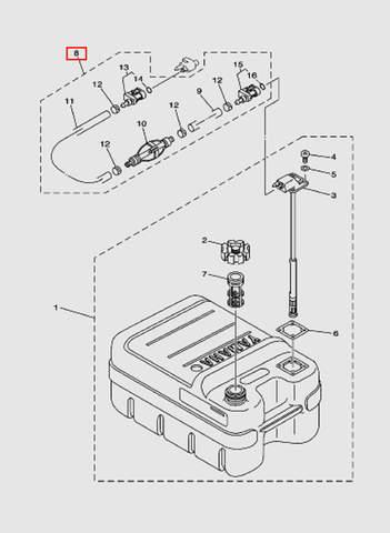 Шланг топливный с грушей  для лодочного мотора T15, OTH 9,9 SEA-PRO (18-8)