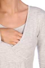 Мамаландия. Лонгслив для беременных и кормящих на запах, светло-серый меланж вид 3